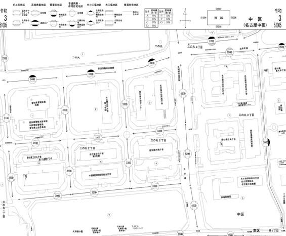 路線価図の例(名古屋市役所近辺)